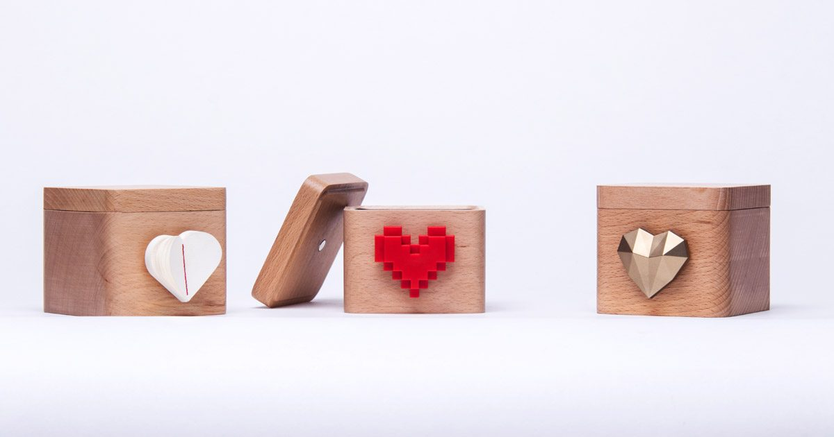 Lovebox with Three Different Hearts