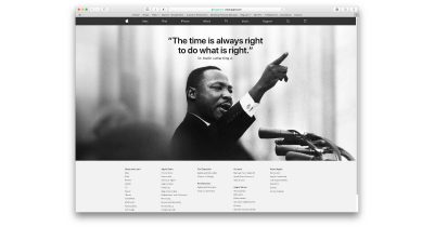 Martin Luther King Jr Day on Apple's website 2018