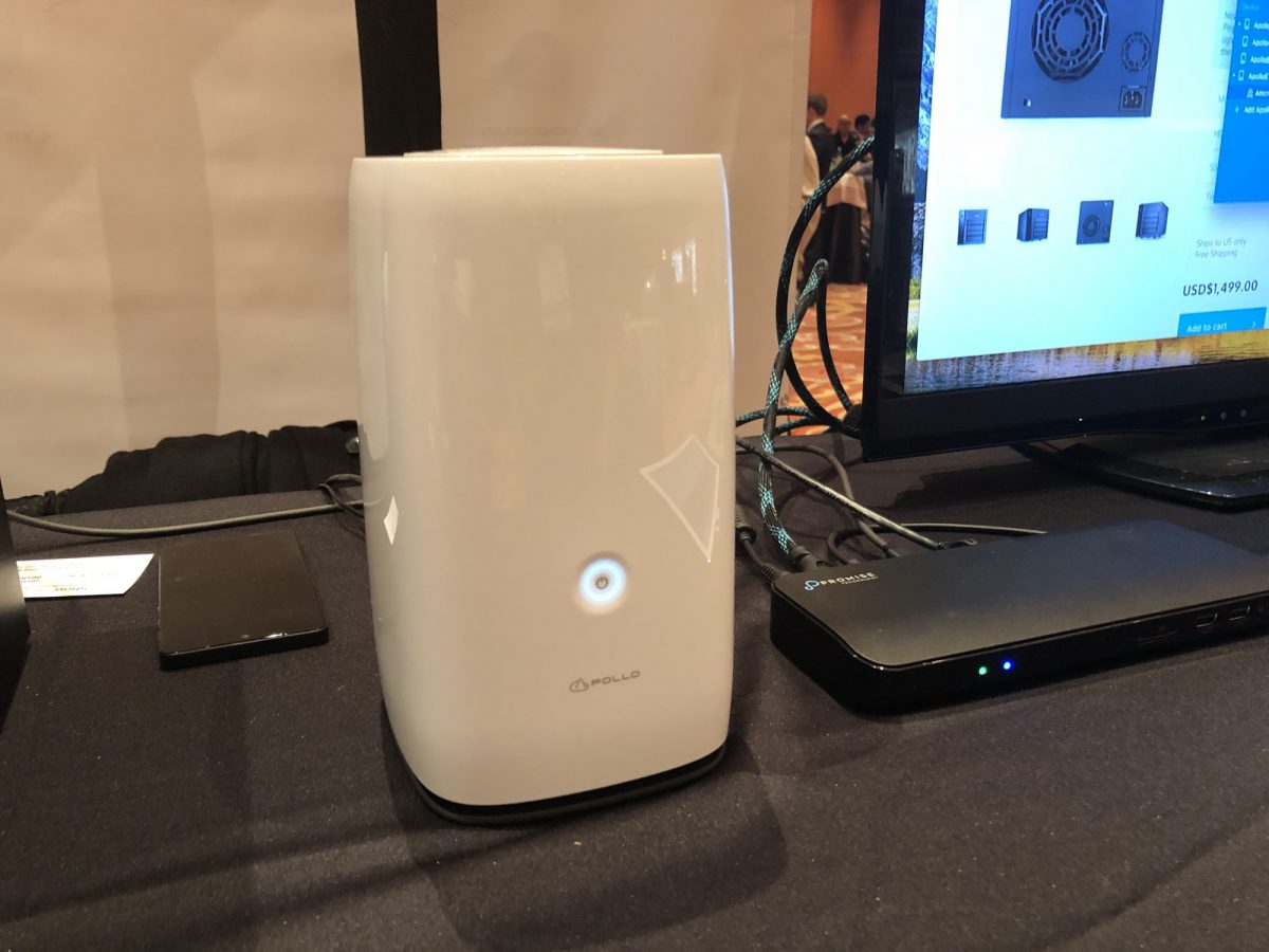 Promise Apollo Cloud 2 Duo 4TB sitting on a table at CES Showstoppers 2018