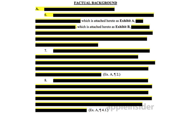 Image of redacted sapphire glass lawsuit by Hebei Hengbo.