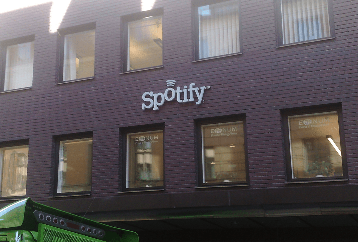 Spotify headquarters. Spotify is being sued by Wixen Music Publishing, which represents artists like Neil Young.