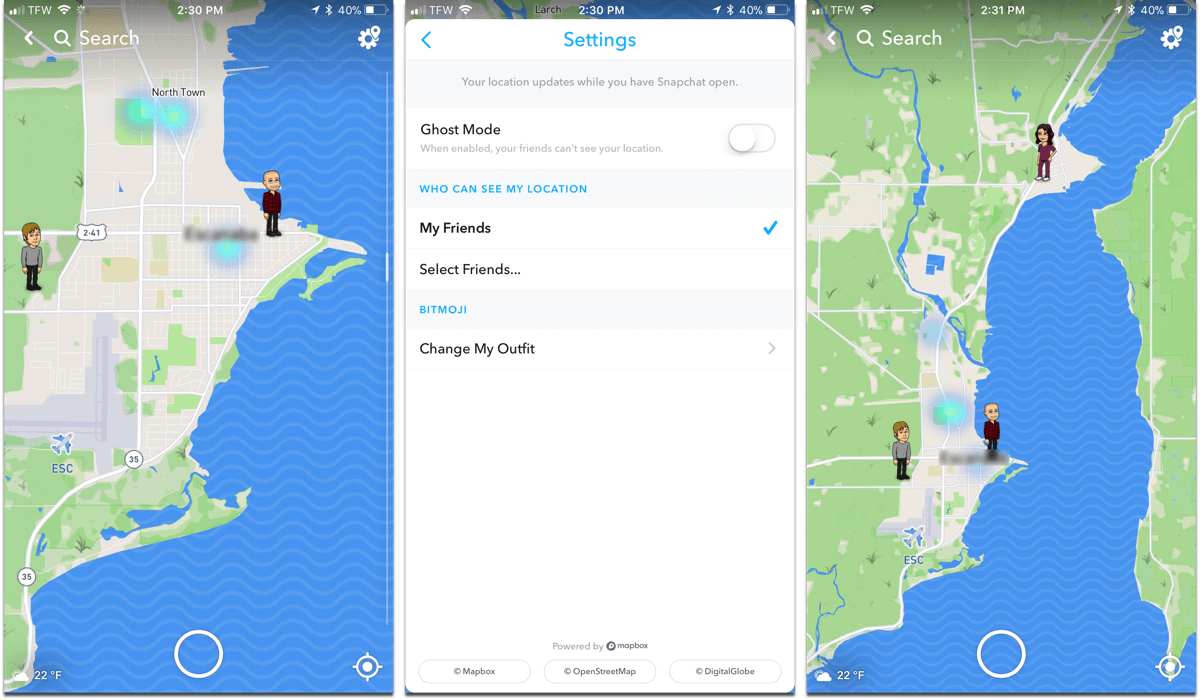 Screenshots of SnapChat, one of the tracking apps that let's you find family and friends.