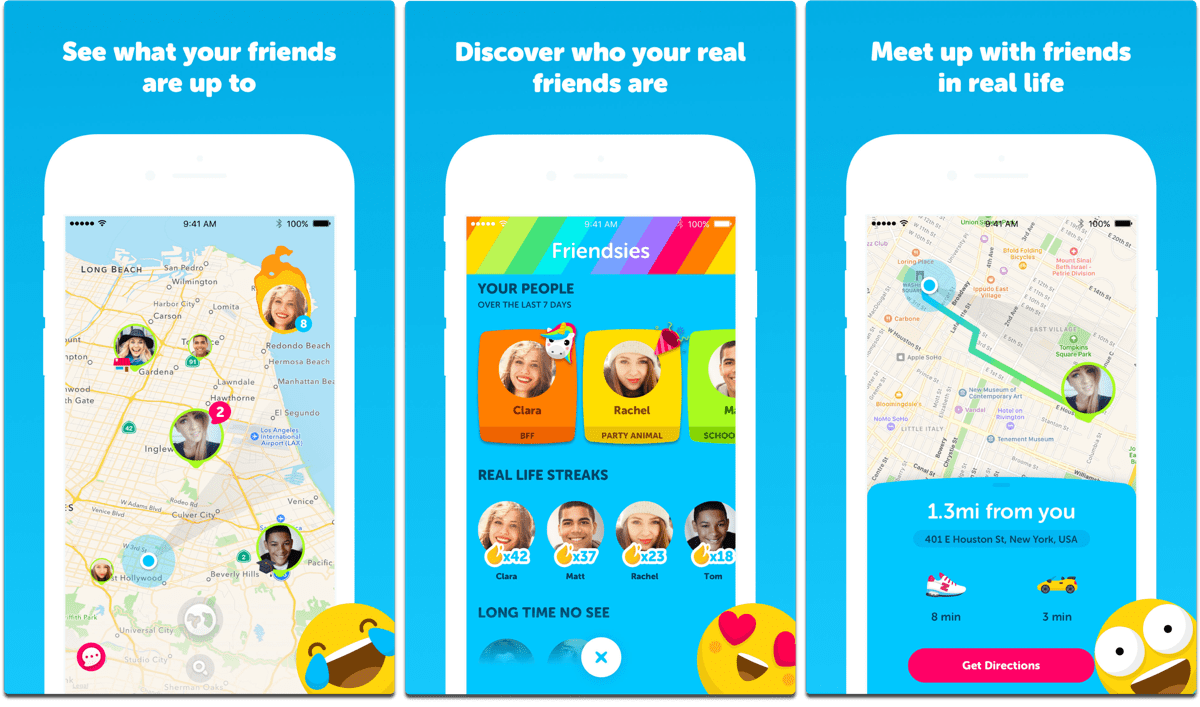 Screenshots of Zenly, one of the tracking apps.