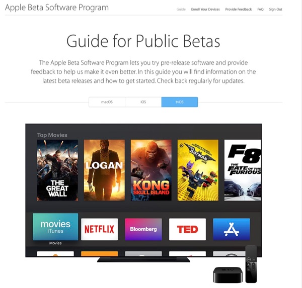 Apple tvOS Beta page.