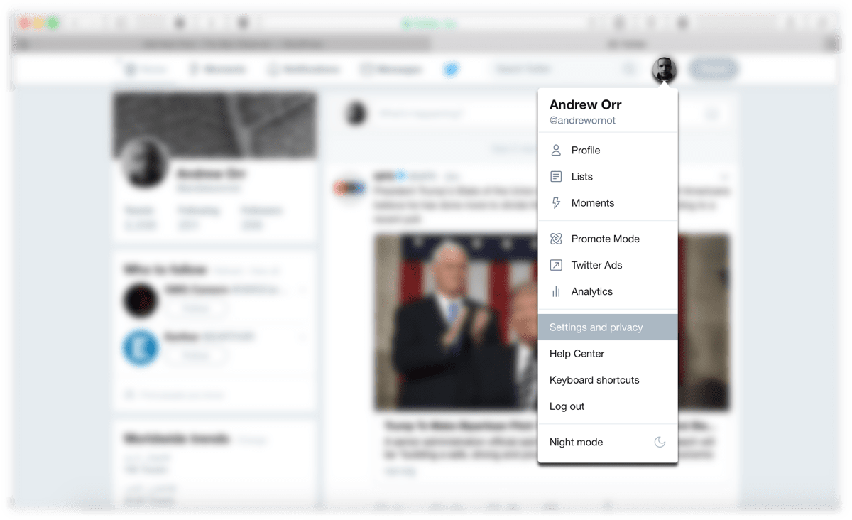 Screenshot of accessing Twitter privacy settings.