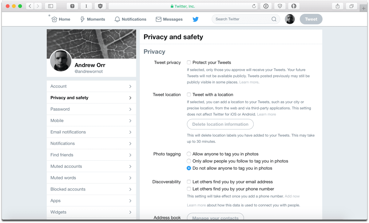 Screenshot of Twitter privacy settings page.