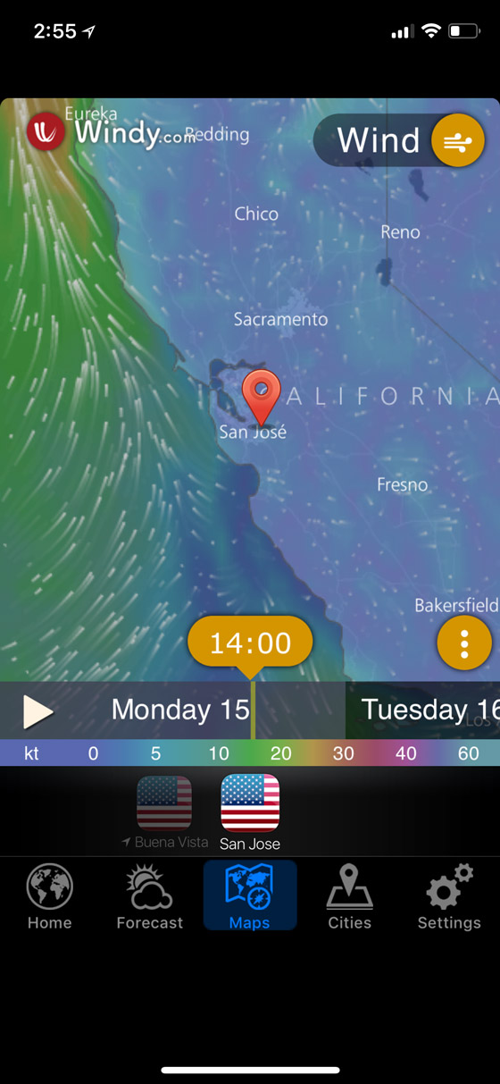 Winds Map in Weather Now