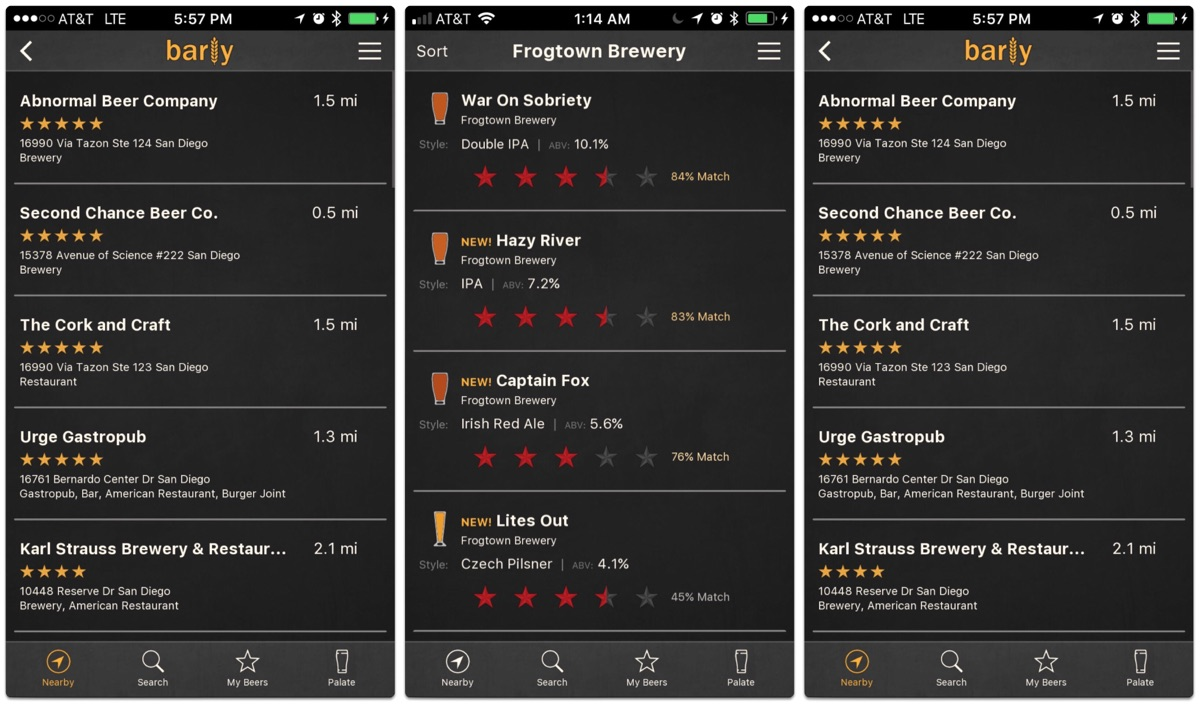 Screenshots of Barly, one of the beer tracking apps.