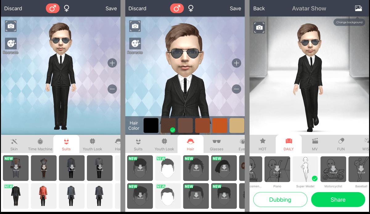 Screenshots of MyIdol, 3D avatar creator.