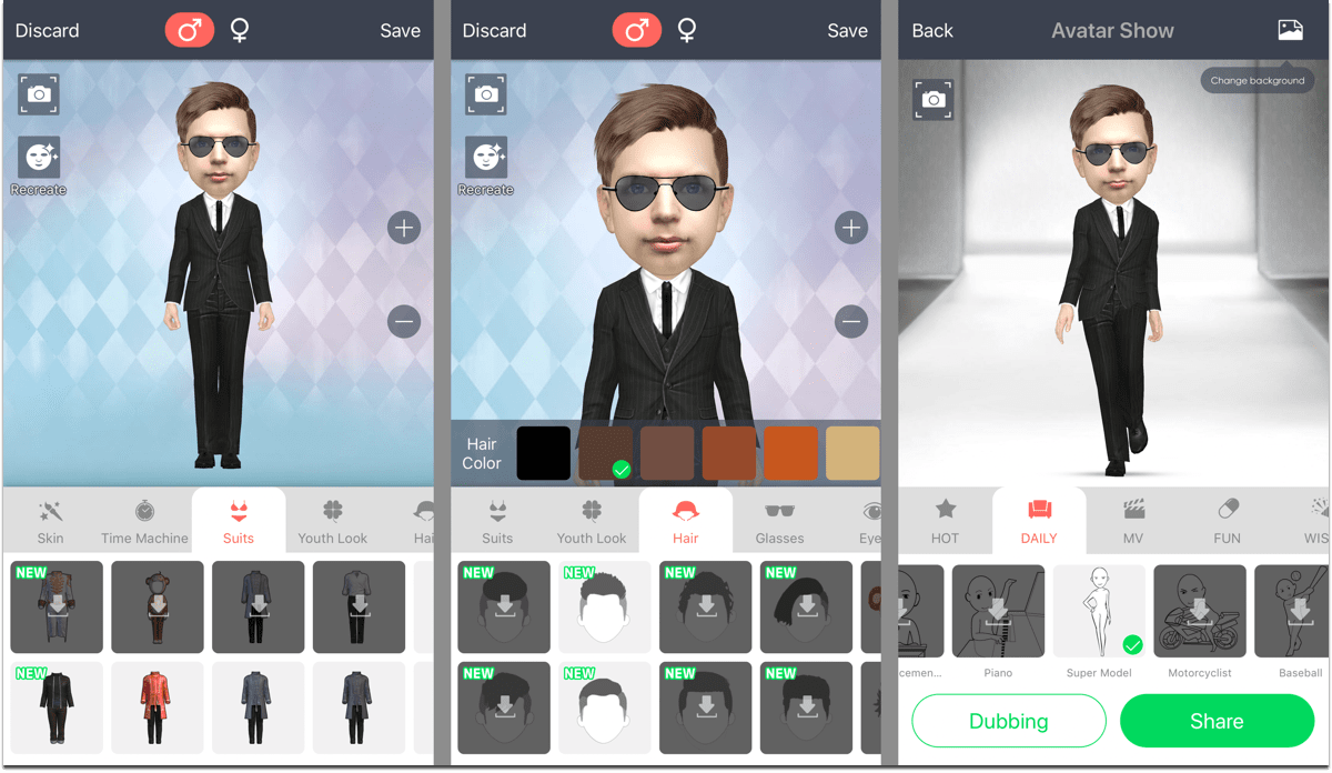 Screenshots of MyIdol, 3D avatar creator.