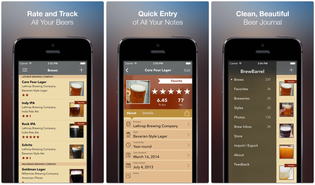 Screenshots of Brew Barrel, one of the beer tracking apps.