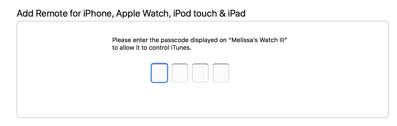Add Apple Watch Remote Code to iTunes on your Mac
