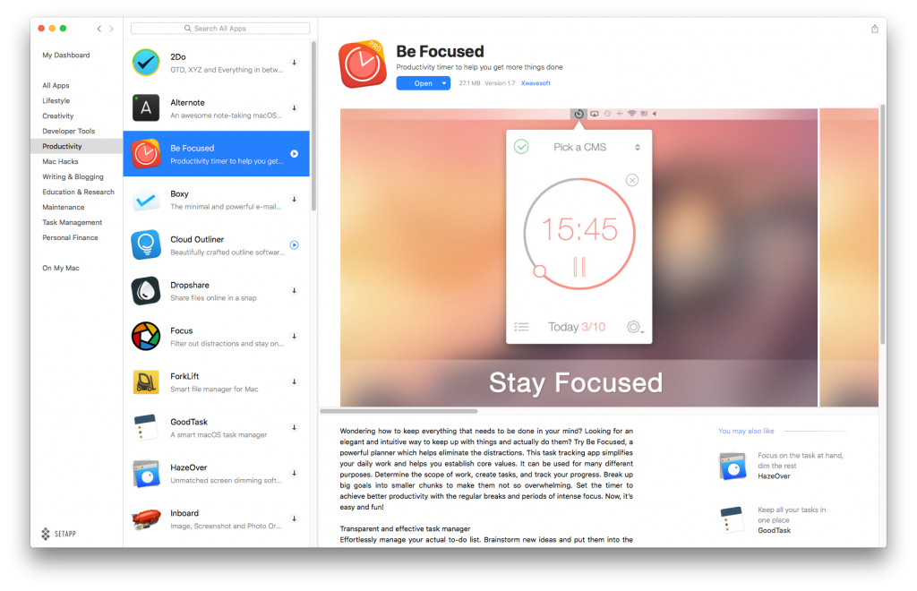 BeFocused is a nice little Pomodoro timer that lives in your menubar.