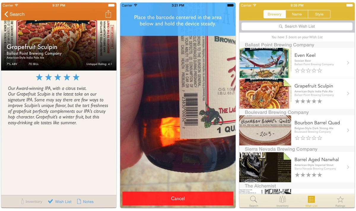 Screenshots of Beer Brains, one of the beer tracking apps.
