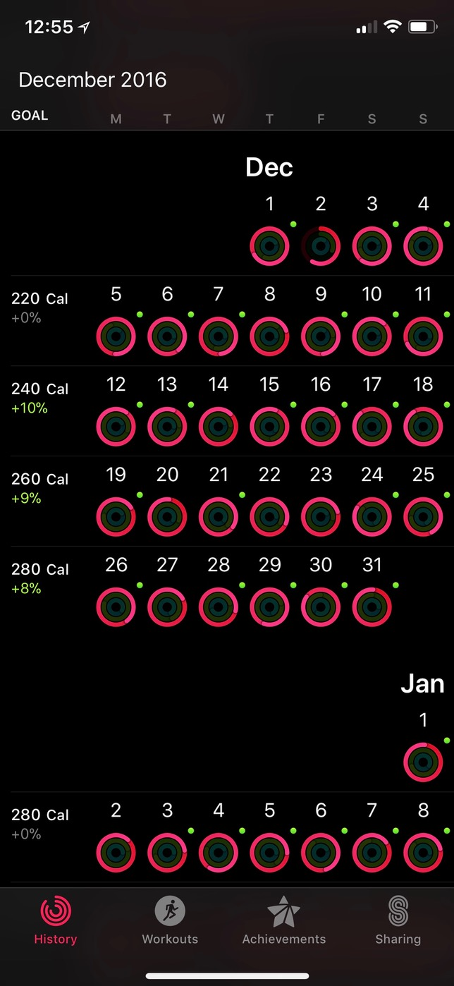 Move Goal Changed showing in Activity app on iPhone