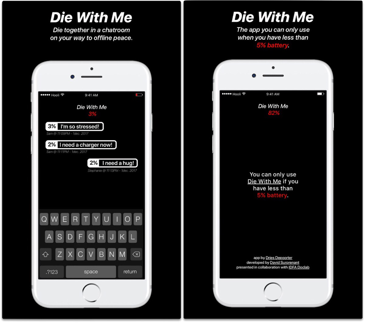 Screenshots of Die With Me low battery chat app.
