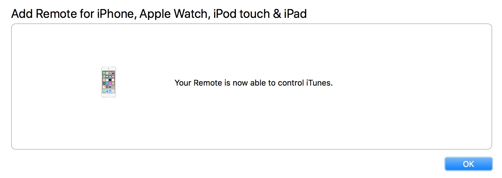 Remote Setup Finished with iTunes on the Mac showing a Success dialog