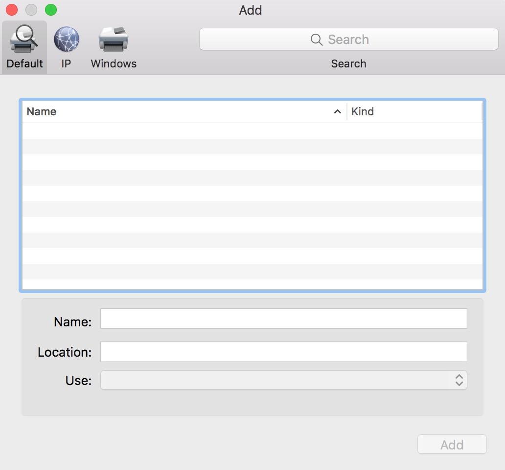 "macOS ""Add Printer"" Window not showing printers"