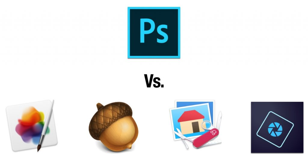 It's Photoshop vs. Pixelmator Pro, Acorn, Graphic Converter, and Photoshop Elements.