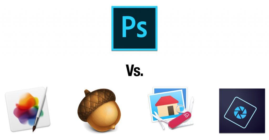 It's Photoshop vs. Pixelmator Pro, Acorn, Graphic Converter, and Photoshop Elements.