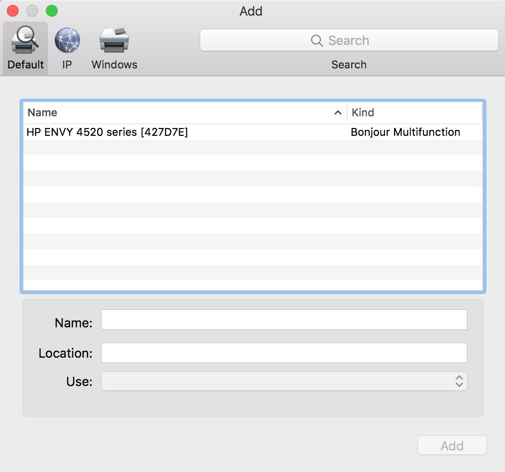 macOS Add Printer Window with Printer Shown