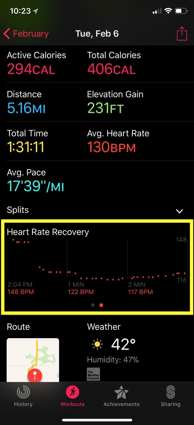 Heart Rate Recovery Info in Activity app on iPhone