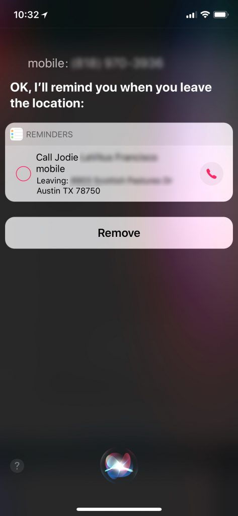 Siri confirms that I want to call my sister (mobile) when I get home.