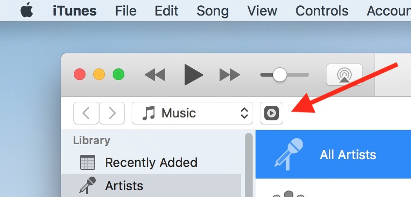 Remote Icon in iTunes on the Mac