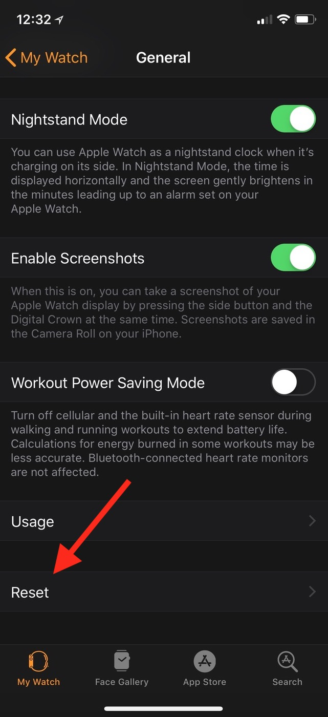 Reset Button on Apple Watch App lets you force data to resync