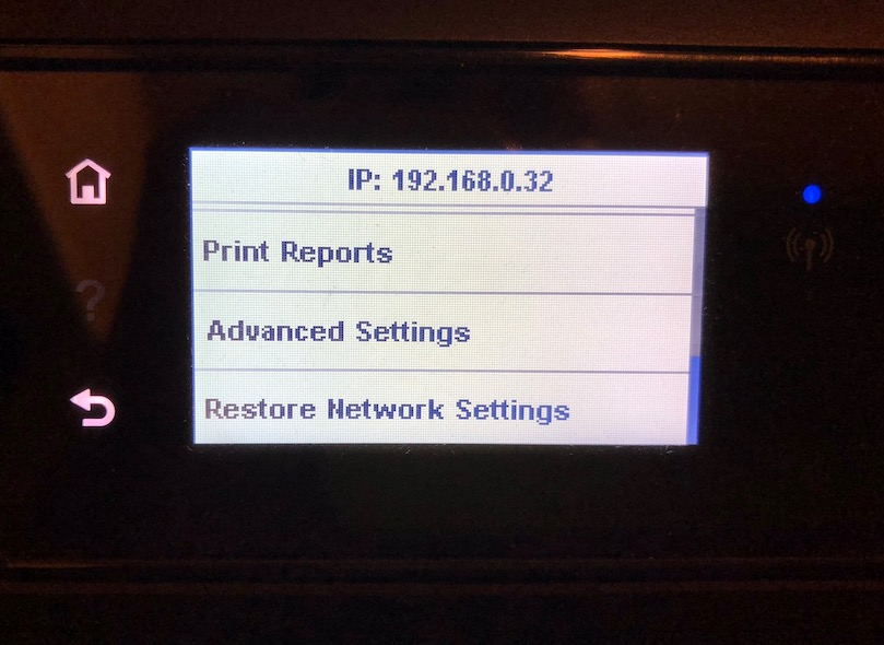 Restore Network Settings option on Printer