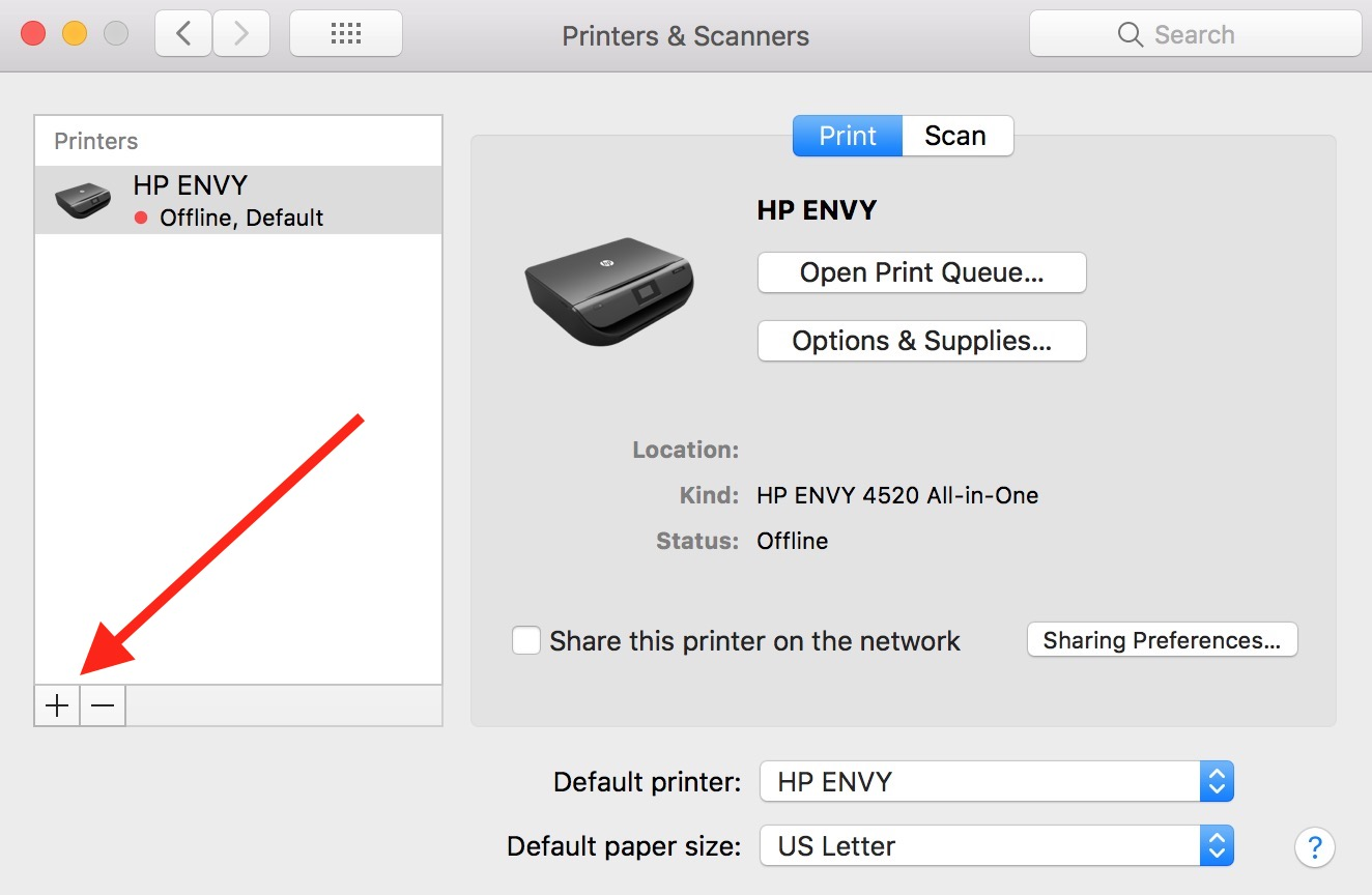 macOS Printers & Scanners Window showing available printers