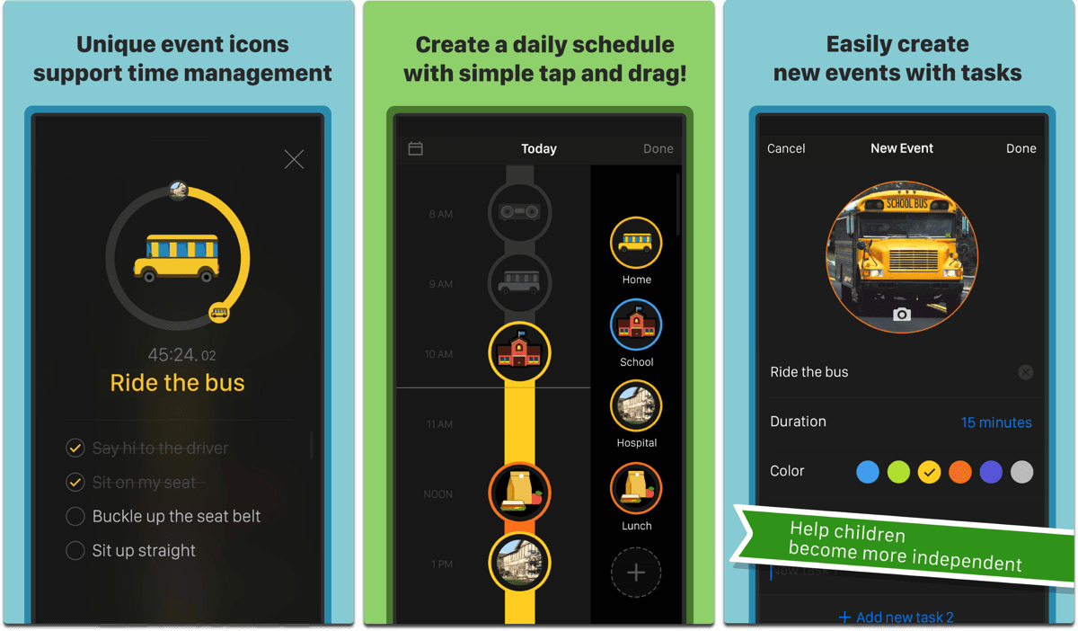 A Visual Schedule, one of the accessibility apps for kids