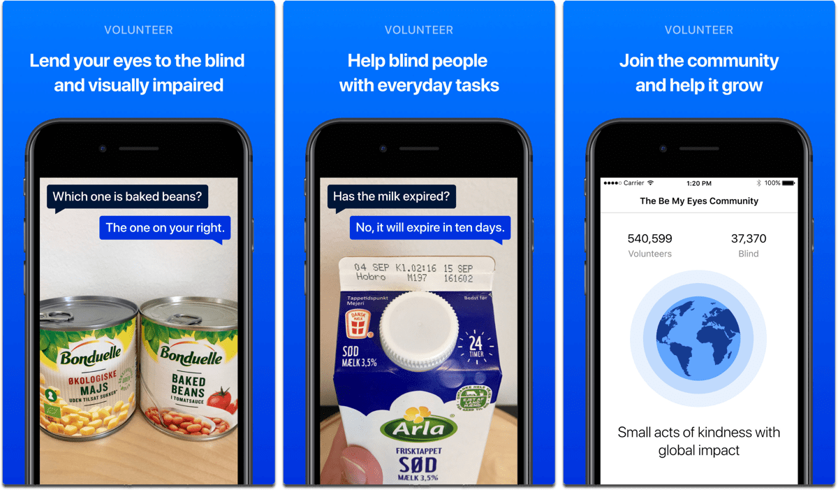 Be My Eyes, one of the accessibility apps that help visually impaired people.