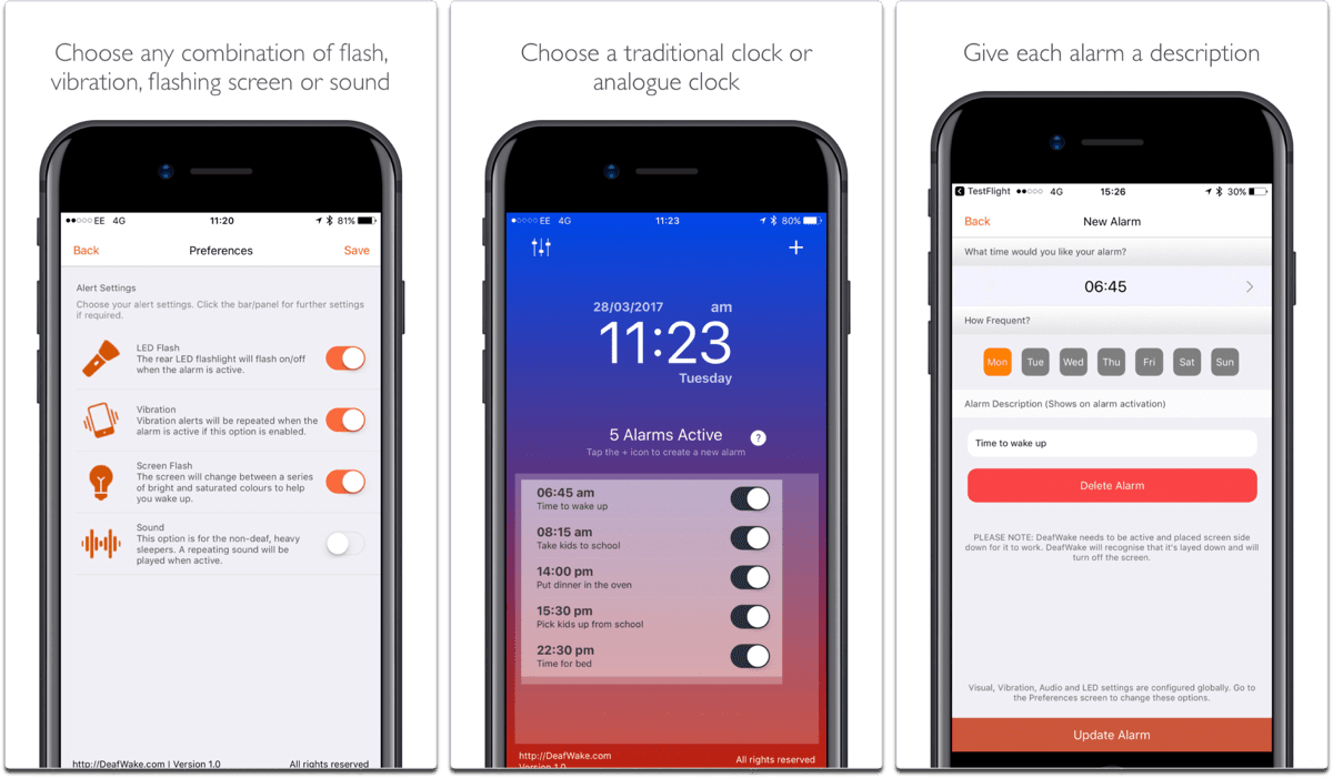 Deaf Wake is one of our accessibility apps that acts as an alarm for the hearing impaired.