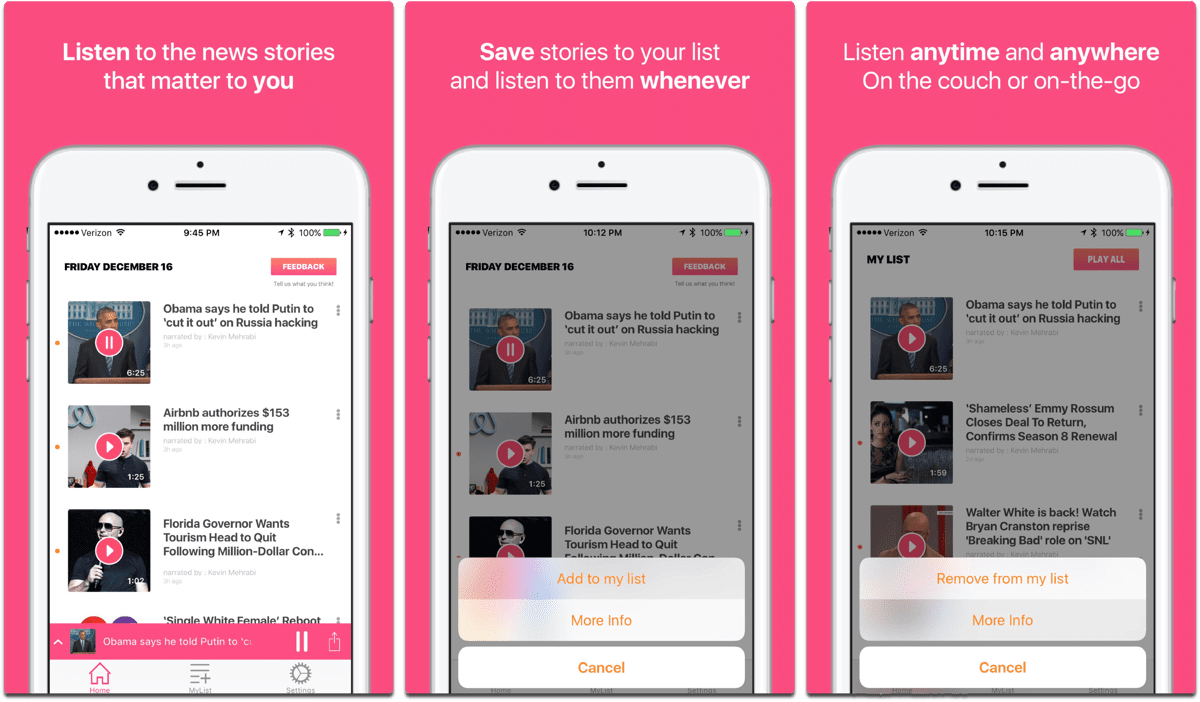 Tattle, one of the accessibility apps that lets you listen to news.