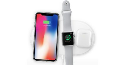 AirPower wireless charging mat with iPhone X, Apple Watch, and AirPods