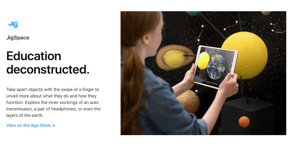 An Apple AR example of an education app using augmented reality.