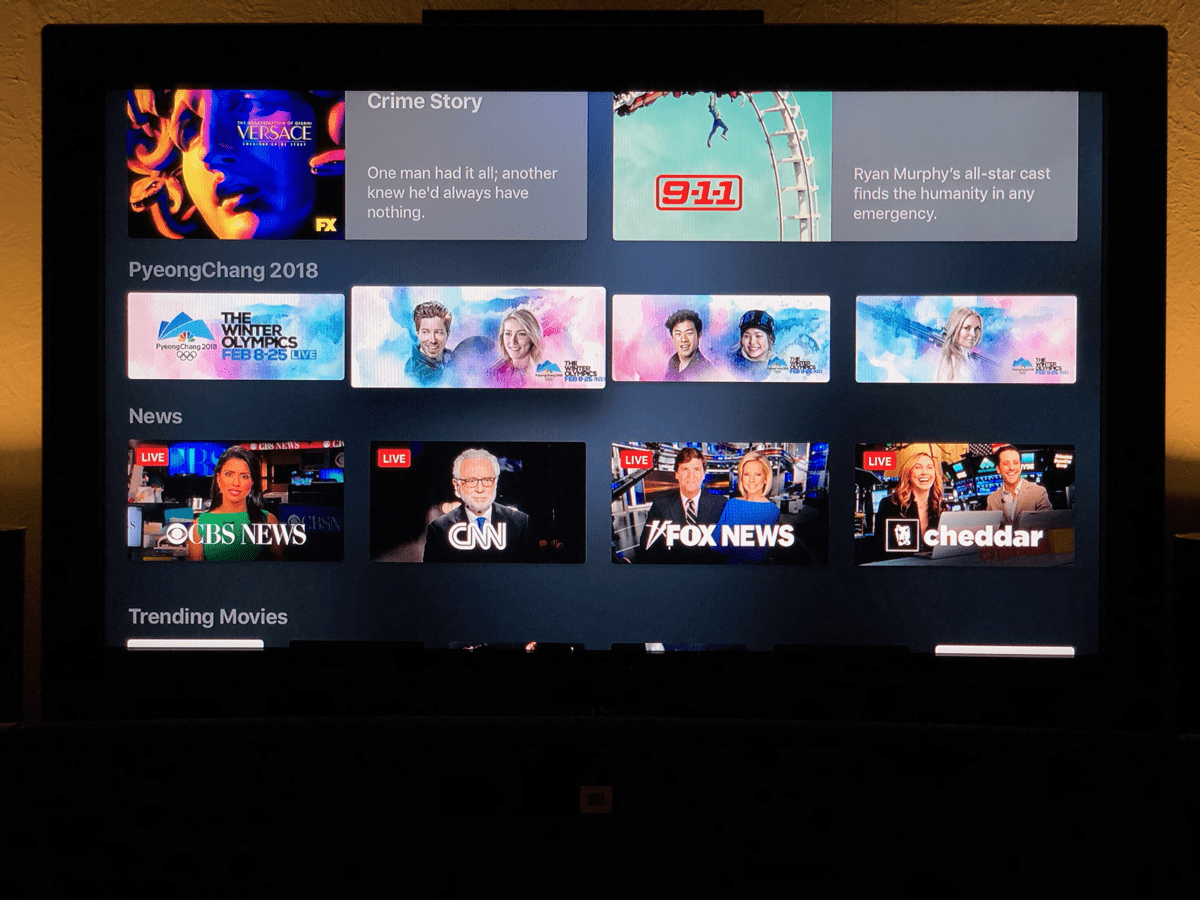 Image of Apple TV running Apple live news in the TV app.