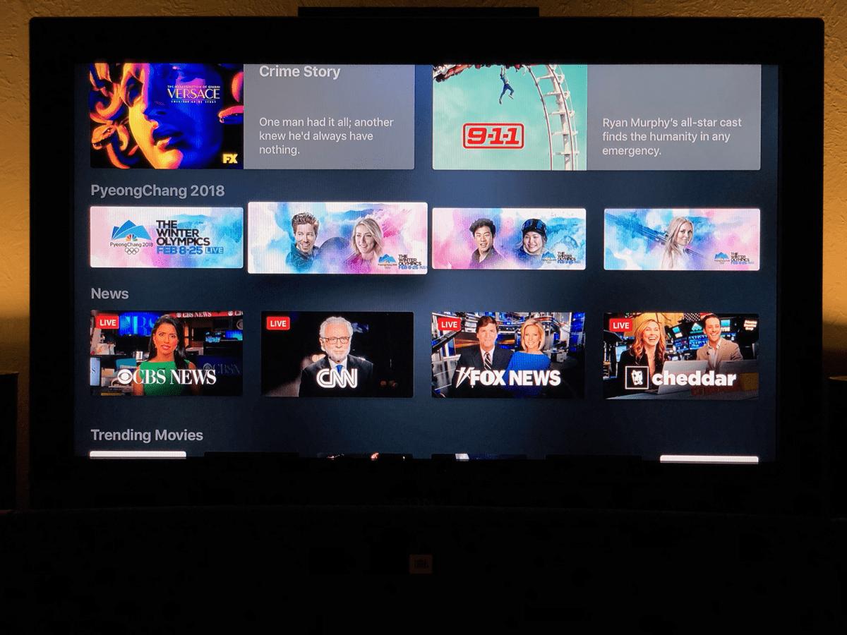 Image of Apple TV running Apple live news in the TV app.