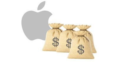 Apple with bags of money