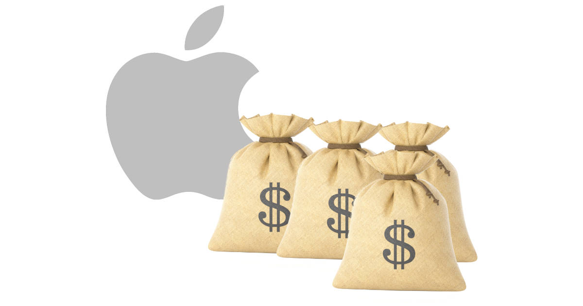 Apple logo with bags of money
