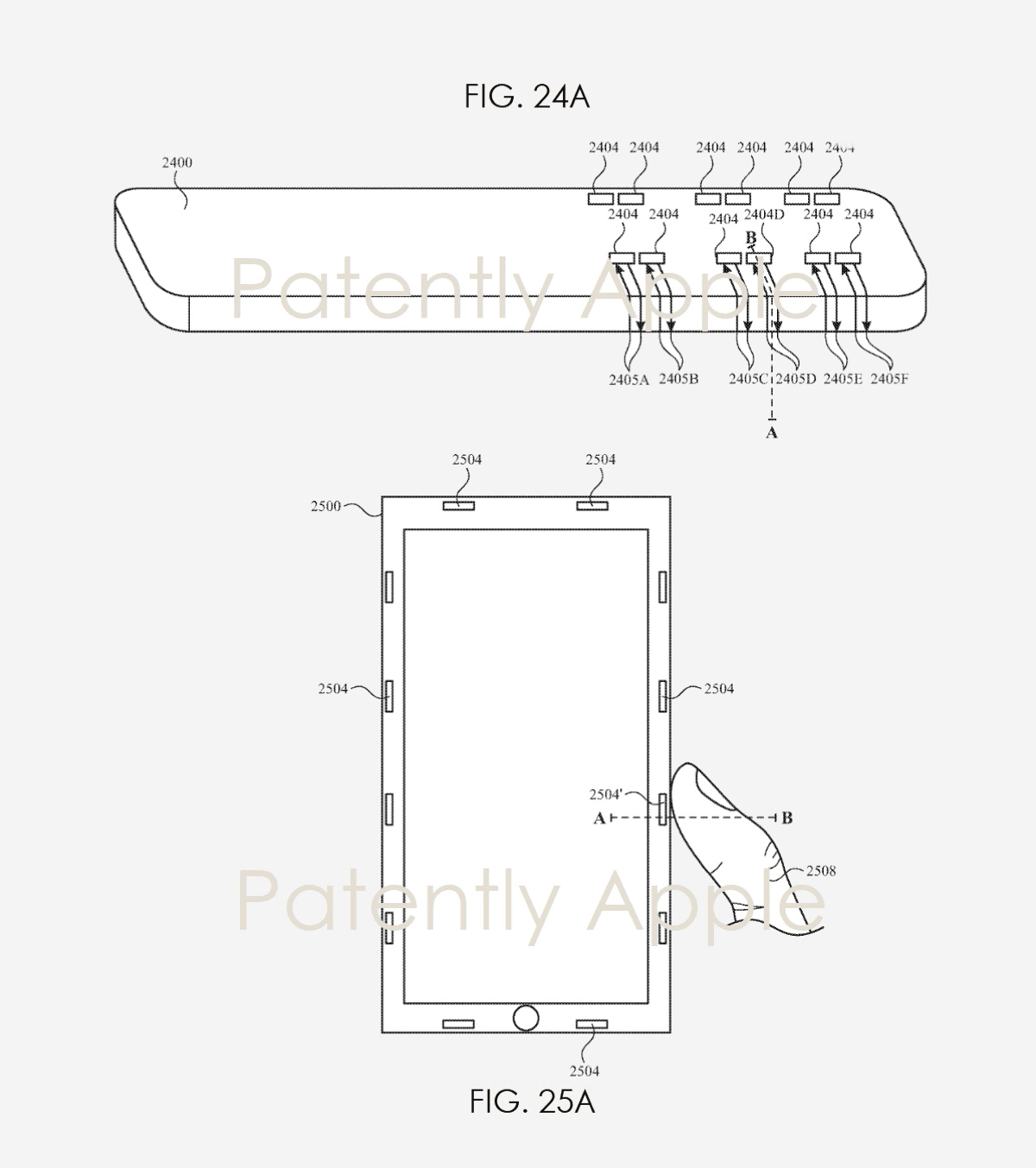 Patent showing acoustic touch with a finger or Apple Pencil.