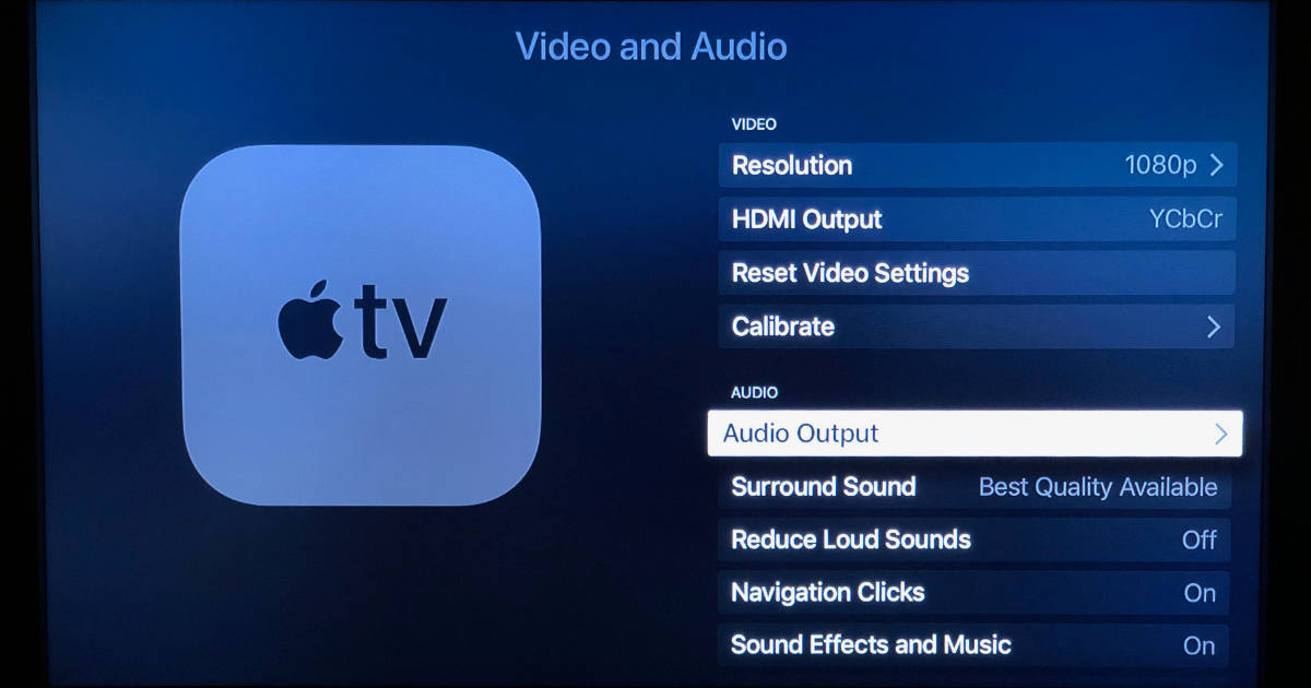 Apple TV audio output settings