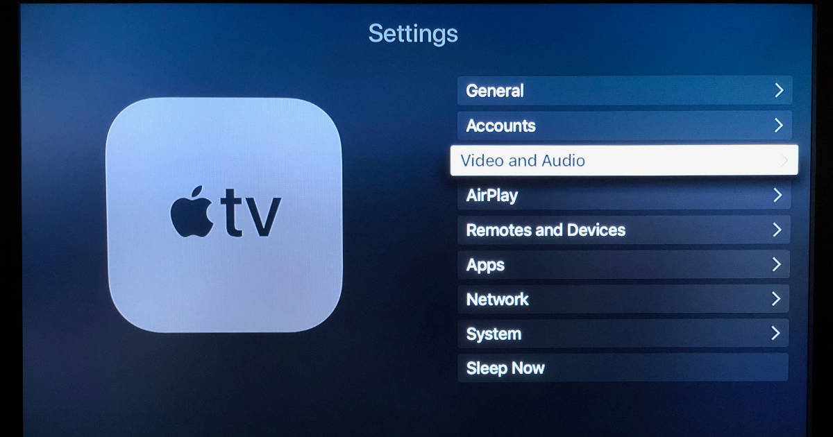 Apple TV settings for video and audio