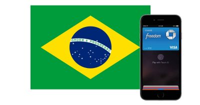 Apple Pay and iPhone with Brazil flag