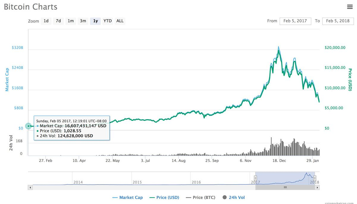 One Year Chart for Bitcoin (Source: CoinMarketCap)