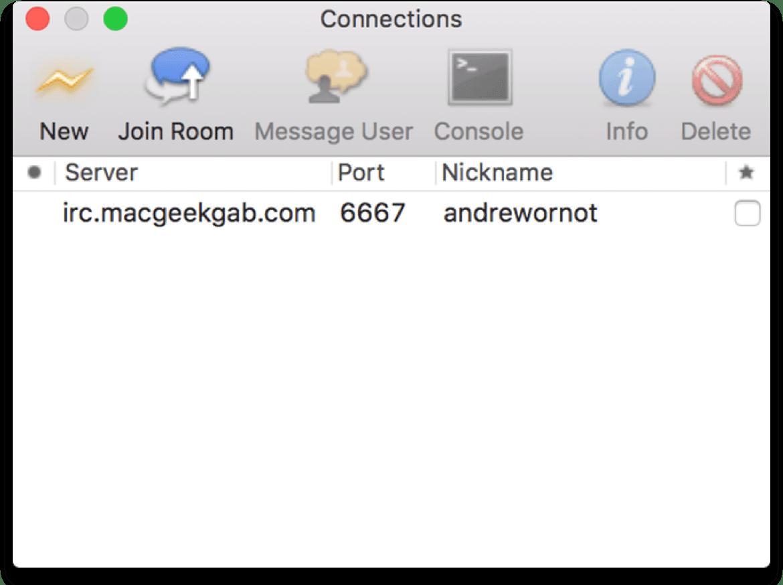 Screenshot of Colloquy, a Mac IRC client.