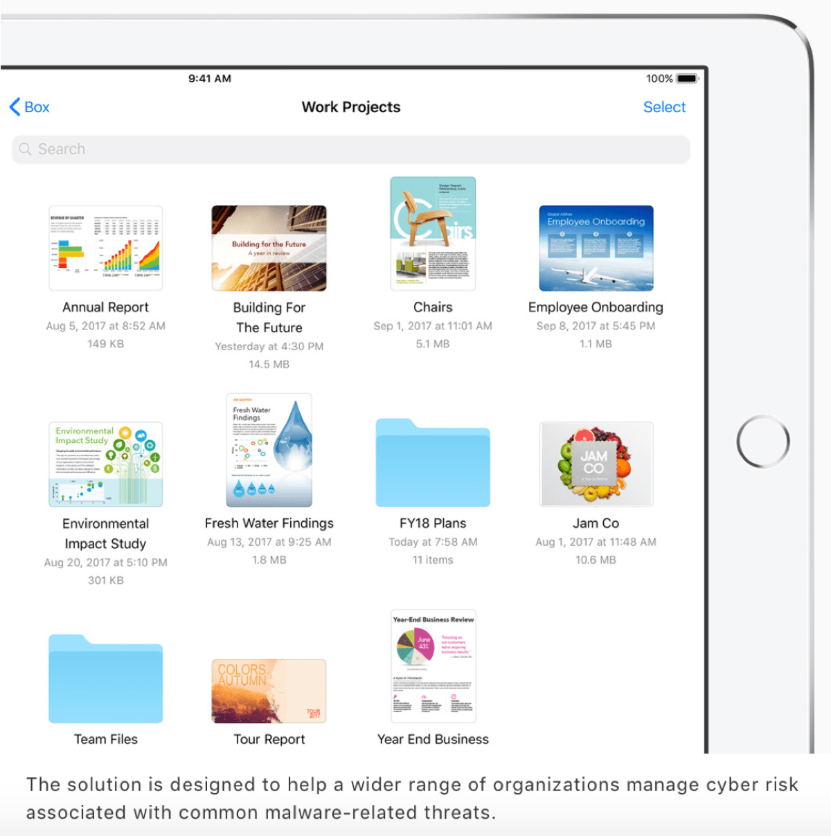 Example image of an iPad in Apple's cyber crime press release.