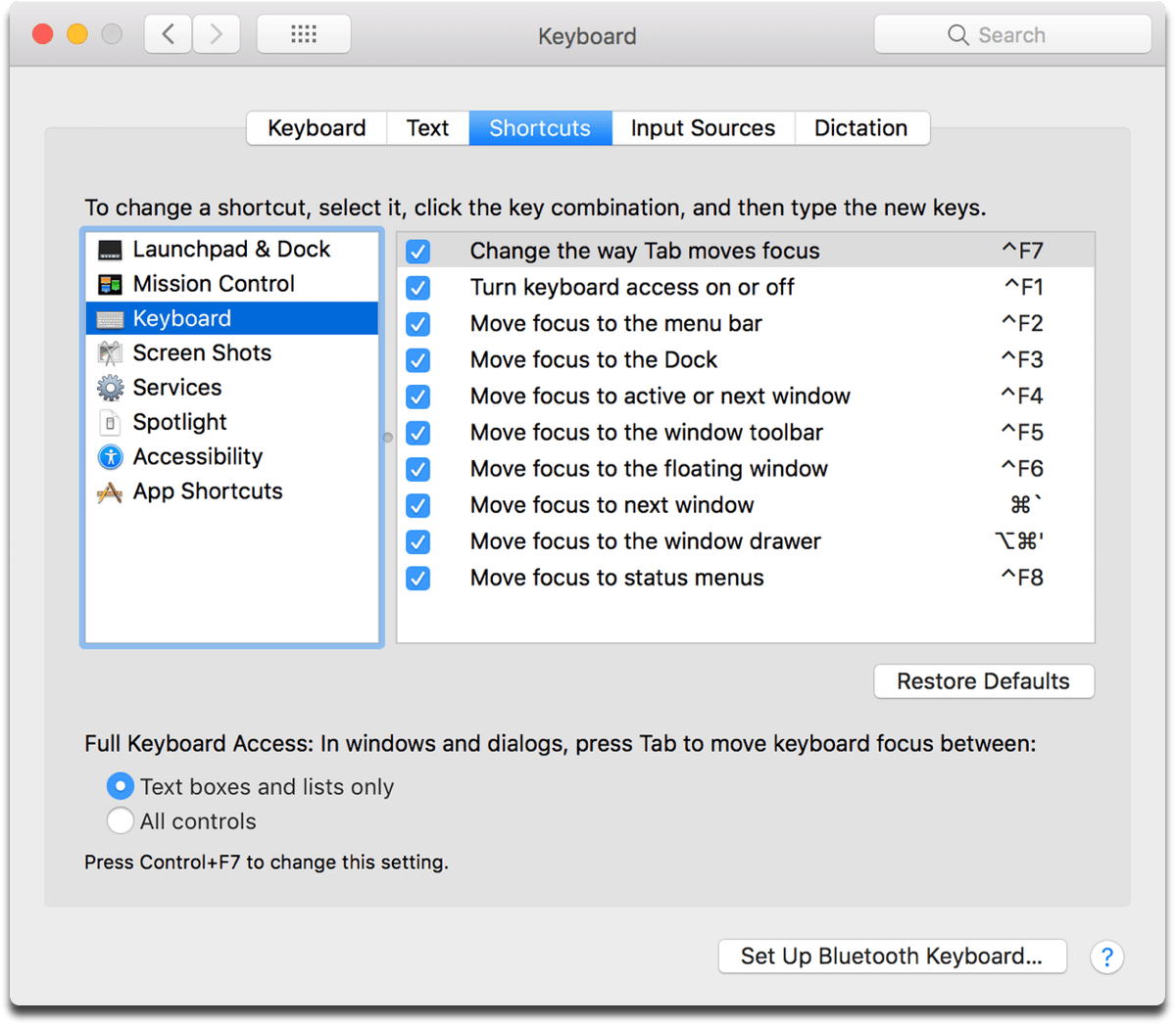 Turn on Full Keyboard Access in macOS System Preferences.