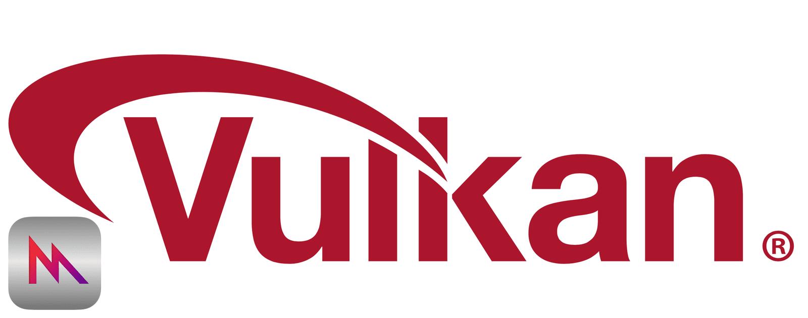 Logo of Vulkan, a GPU API coming to macOS and iOS.